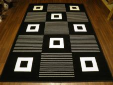 New Modern Rug 190x280cm Woven Backed Black White Great Quality Squares Design
